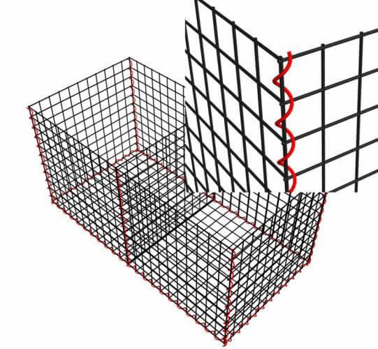 """""""Червената"""" спирална тел служи за закрепване на отделните части една към друга."""